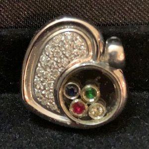 Jewelry - ‼️18KT‼️ WHITE GOLD DIAMOND FLOATING HEART PENDANT
